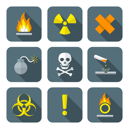 fire safety: colorful flat style hazardous waste symbols warning signs icons long shadows