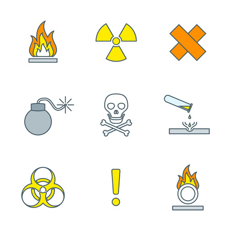 hazardous waste: colorful outline hazardous waste symbols warning signs icons white background Illustration