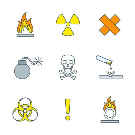 hazardous waste: contorno colorato simboli rifiuti pericolosi segnali di avvertimento icone sfondo bianco Vettoriali