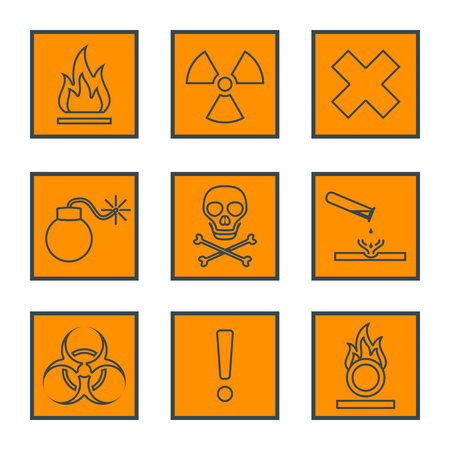 hazardous waste: orange square black outline hazardous waste symbols warning signs icons Illustration