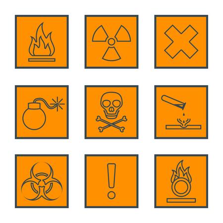 orange square black outline hazardous waste symbols warning signs icons Illustration