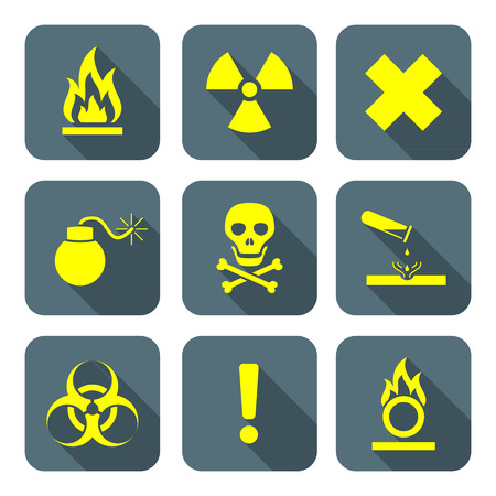 ionizing: bright yellow color flat style hazardous waste symbols warning signs gray icons long shadows