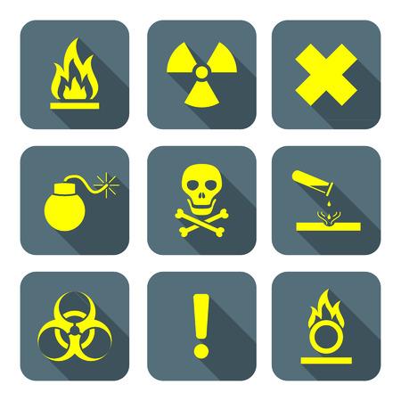 hazardous waste: luminoso stile piatto colore giallo segni simboli rifiuti pericolosi di avviso grigio icone Long Shadows