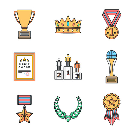winners podium: vector colored outline various rewards prize sign icons set white background