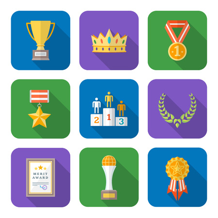 honorable: vector color flat design various rewards prize sign icons set long shadows
