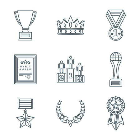 honorable: vector dark grey color outline various rewards prize sign icons set white background