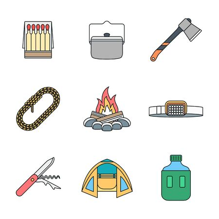 fireside: vector colored outline various camping icons set white background