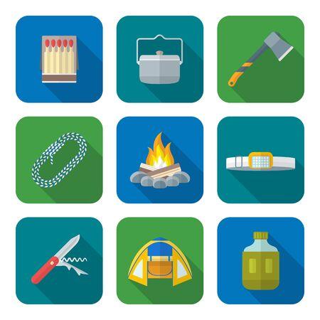 box of matches: vector color flat design various camping icons set long shadows Illustration