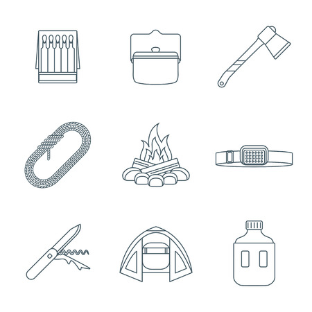 penknife: vector dark gray color outline various camping icons set white background Illustration