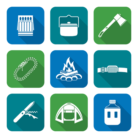 ignition: vector white color flat design various camping icons set long shadows Illustration