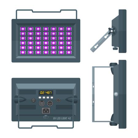 stage projector: LED ultraviolet blacklight professional stage projector lightning colored flat illustration white background