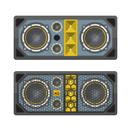 party system: vector professional tour array satellite loudspeakers flat design illustration white background