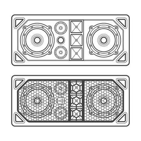 vector professional tour array satellite loudspeakers dark contour illustration white background