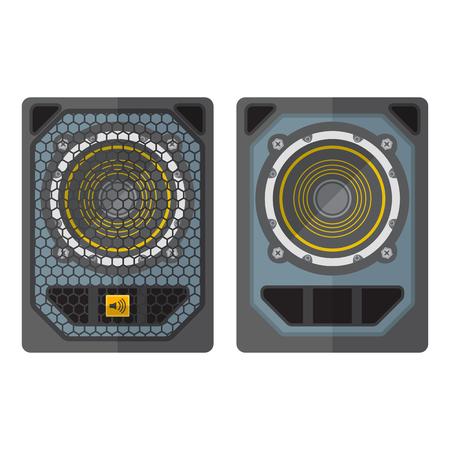 subwoofer: vector professional tour array subwoofer loudspeakers flat design illustration white background