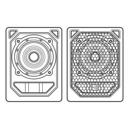 subwoofer: vector professional tour array subwoofer loudspeakers dark contour illustration white background