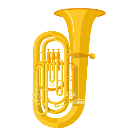brass wind: vector color flat design tuba wind instrument vector illustration white background Illustration