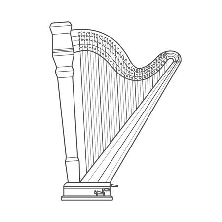 ベクトル暗いグレー白黒輪郭クラシック オーケストラ ペダル ハープ白地 写真素材 - 40861716