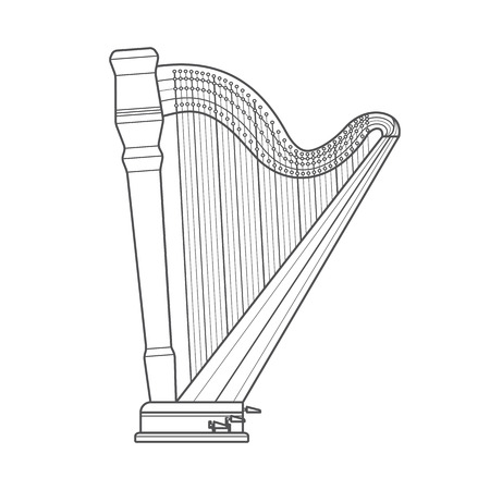 vector dark grey monochrome contour classical orchestral pedal harp on white background