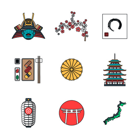 hokkaido: vector color outline japan national theme icons white background