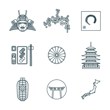 enso: vector dark grey color japan national theme icons white background