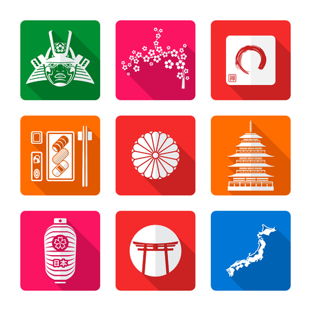 enso: vector white color flat design japan national theme icons with shadow set