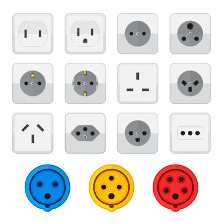 energia electrica: vector de color dise�o plano diversos enchufe tipos de entrada conjunto de iconos fondo blanco Vectores