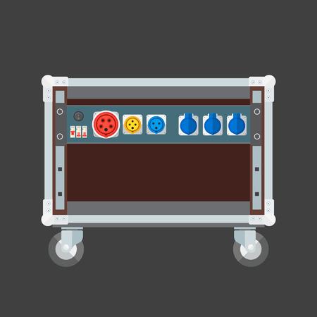 splitter: vector flat design concert rack case on wheels power splitter sockets panel illustration Illustration