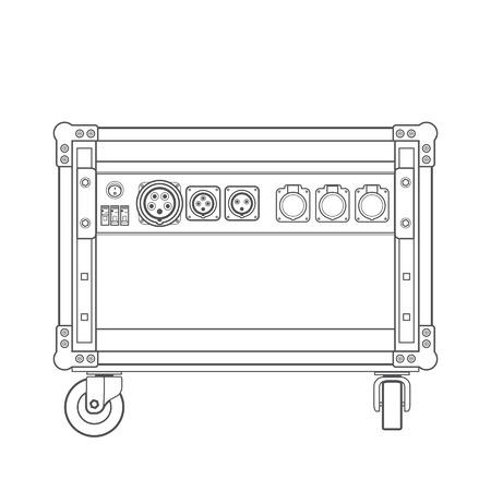 sockets: vector grey concert rack case on wheels power splitter sockets panel illustration white background
