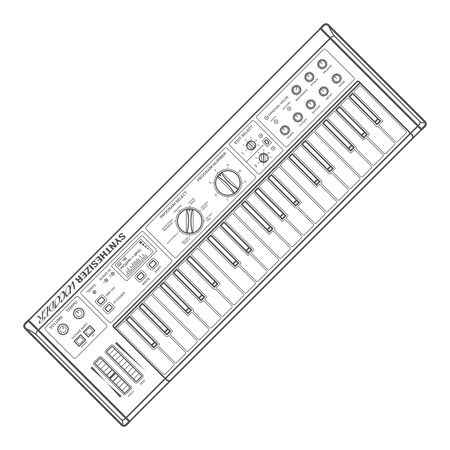 vector grey color outline piano roll analog synthesizer faders buttons knobs display white background Illustration