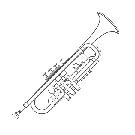 vector grey color outline trumpet technical illustration white background
