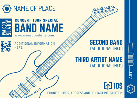 concert performance: vector bright cream blue rock music electro guitar flyer template minimal design