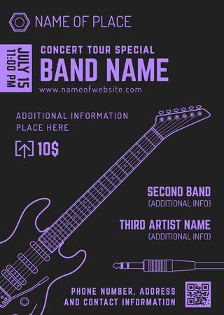 vector dark purple bright violet rock music electro guitar flyer template minimal design