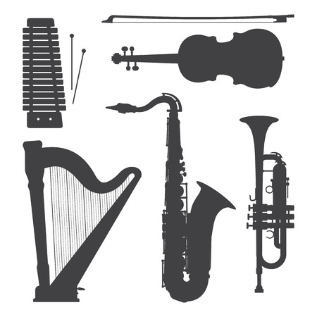 saxofón: vector xilófono arpa violín trompeta saxofón oscuras siluetas grises ilustración conjunto
