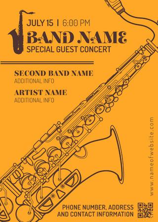 vector orange brown jazz music concert sax music flyer template minimal design Illustration