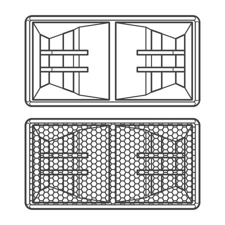 subwoofer: vector dark grey outline horn system double subwoofer speakers with protection grid illustration