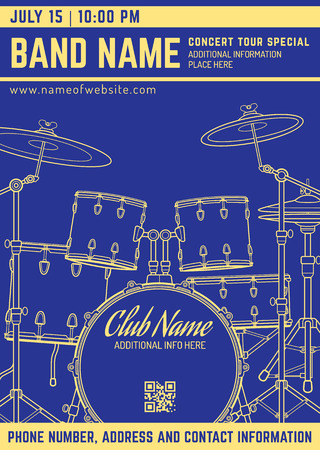 vector dark blue gold yellow rock music concert drum set flyer template minimal design