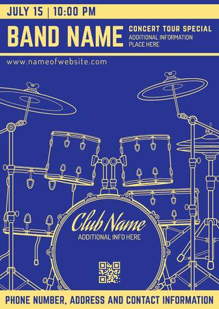 party silhouette: vector dark blue gold yellow rock music concert drum set flyer template minimal design