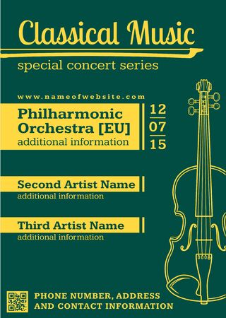 classical concert: vector green yellow monochrome classical music concert fiddle flyer template minimal design