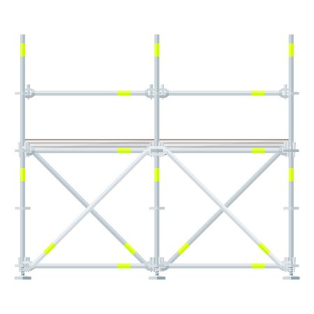 vector flat design aluminum prefabricated scaffolding isolated illustration white background Ilustração
