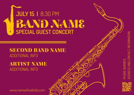 concert performance: vector purple orange gold jazz music concert sax music flyer template minimal design