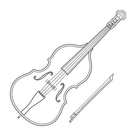 double bass: dark monochrome outline double bass bow illustration white background Illustration