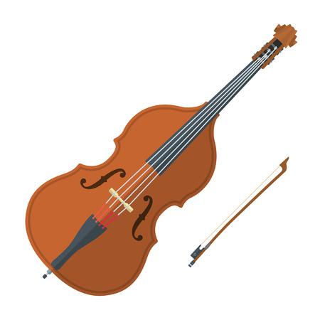 orquesta clasica: vector de color diseño plano doble ilustración de arco bajo de fondo blanco Vectores