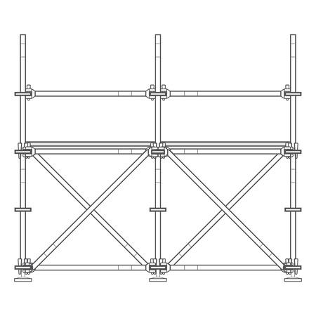 vector dark grey outline prefabricated scaffolding isolated illustration white background