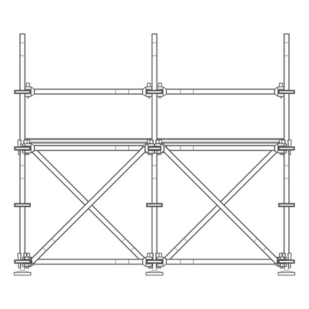 prefabricated: vector dark grey outline prefabricated scaffolding isolated illustration white background