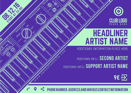 electronic music: vector dark violet bright teal electronic music flyer template minimal contemporary design Illustration