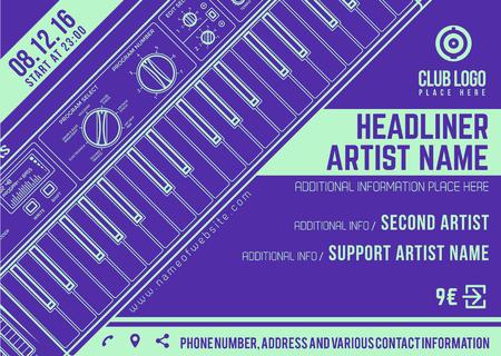 vector dark violet bright teal electronic music flyer template minimal contemporary design Illustration