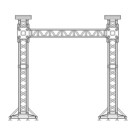 vector dark grey outline stage sound lighting aluminum truss tower lift construction illustration Illustration
