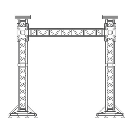 truss: vector dark grey outline stage sound lighting aluminum truss tower lift construction illustration Illustration