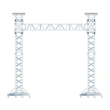 vector flat design stage sound lighting aluminum truss tower lift construction illustration Illustration