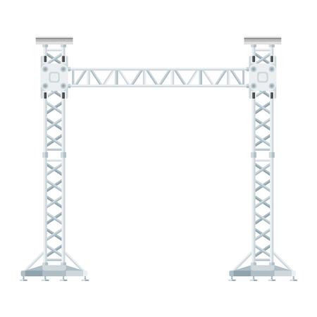 truss: vector flat design stage sound lighting aluminum truss tower lift construction illustration Illustration